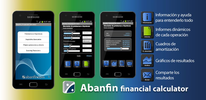 Abanfin financial Calculator, app financiera para smartphones Android e iPhone