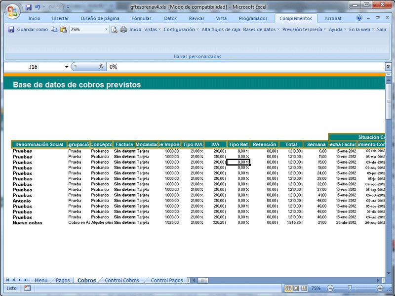 Previsin de tesorera cobros y pagos asesores bancarios y pantalla herramienta prevision de tesoreria cobros y pagos base de datos cobros previstos ccuart Image collections